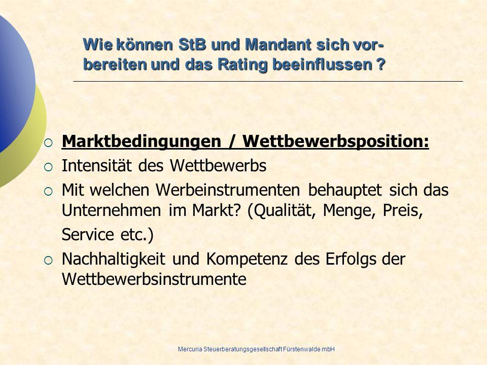 Mercuria Steuerberatungsgesellschaft Fürstenwalde mbH Marktbedingungen / Wettbewerbsposition: Intensität des Wettbewerbs Mit welchen Werbeinstrumenten