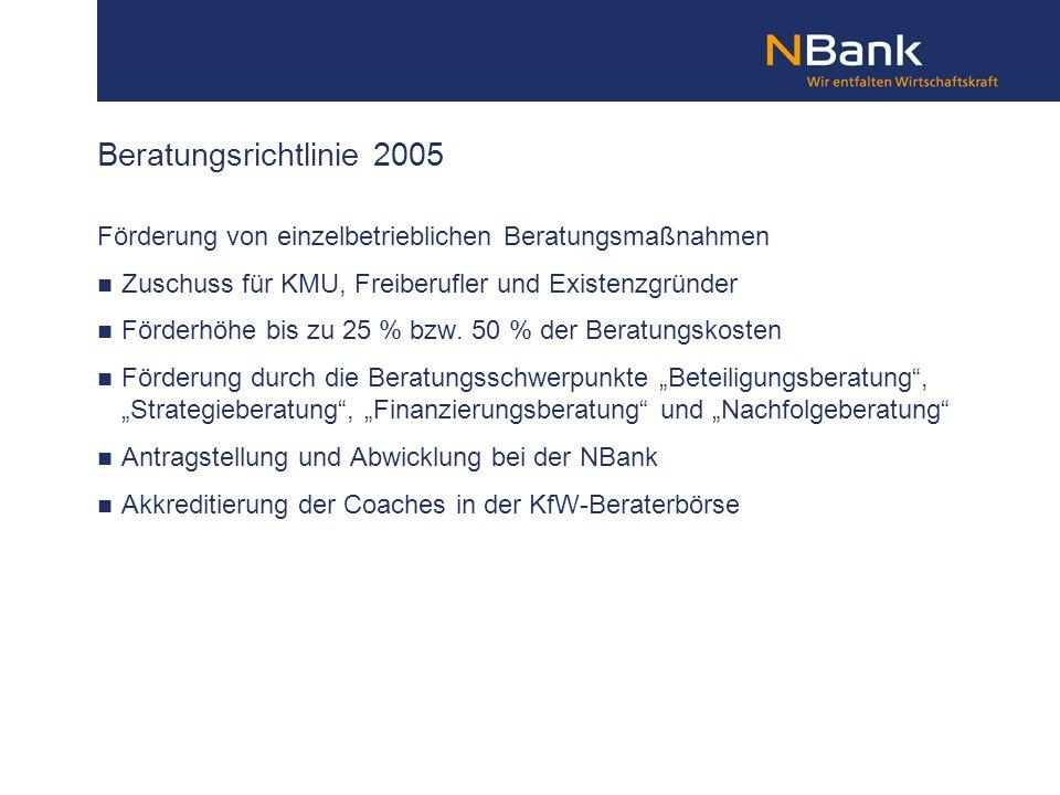 Beratungsrichtlinie 2005 Förderung von einzelbetrieblichen Beratungsmaßnahmen Zuschuss für KMU, Freiberufler und Existenzgründer Förderhöhe bis zu 25