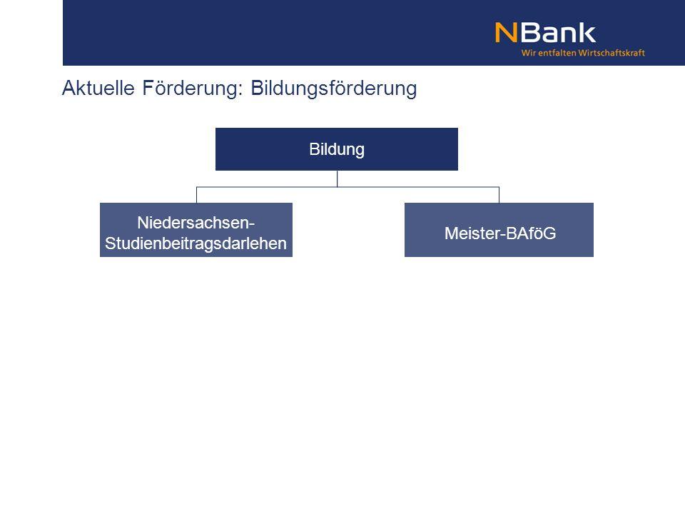 Aktuelle Förderung: Bildungsförderung Bildung Meister-BAföG Niedersachsen- Studienbeitragsdarlehen