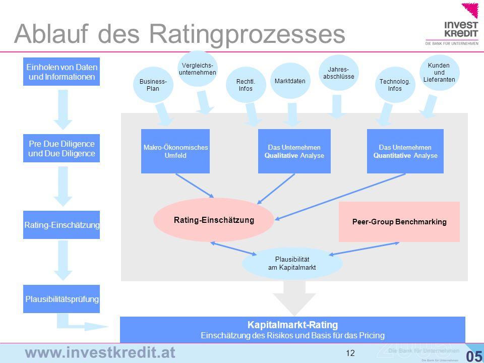 12 Ablauf des Ratingprozesses Makro-Ökonomisches Umfeld Das Unternehmen Qualitative Analyse Das Unternehmen Quantitative Analyse Rating-Einschätzung P