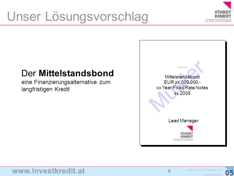 5 5 5 Der Mittelstandsbond eine Finanzierungsalternative zum langfristigen Kredit Unser Lösungsvorschlag Muster Lead Manager........ Mittelstandsbond