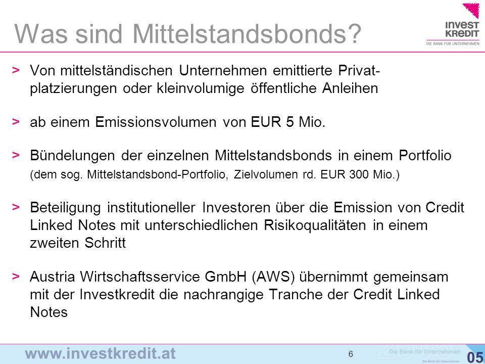6 6 6 >Von mittelständischen Unternehmen emittierte Privat- platzierungen oder kleinvolumige öffentliche Anleihen >ab einem Emissionsvolumen von EUR 5