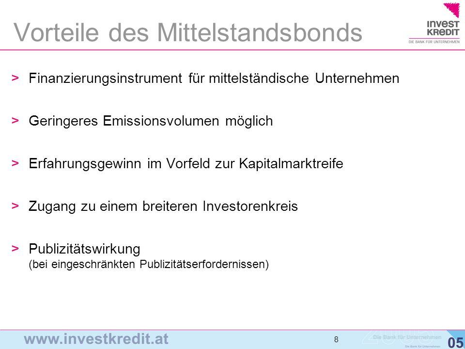 8 8 8 >Finanzierungsinstrument für mittelständische Unternehmen >Geringeres Emissionsvolumen möglich >Erfahrungsgewinn im Vorfeld zur Kapitalmarktreif