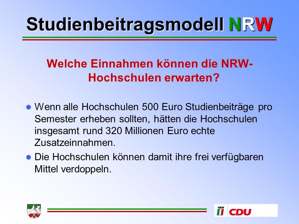 Studienbeitragsmodell NRW Welche Einnahmen können die NRW- Hochschulen erwarten.