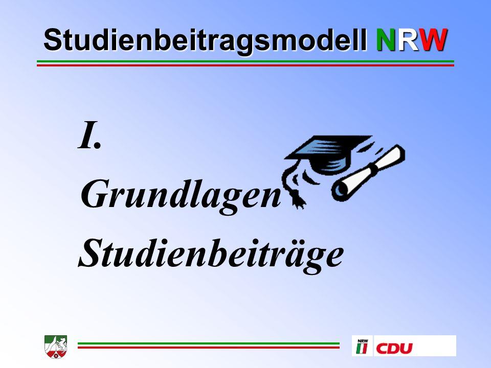 Studienbeitragsmodell NRW I. Grundlagen Studienbeiträge