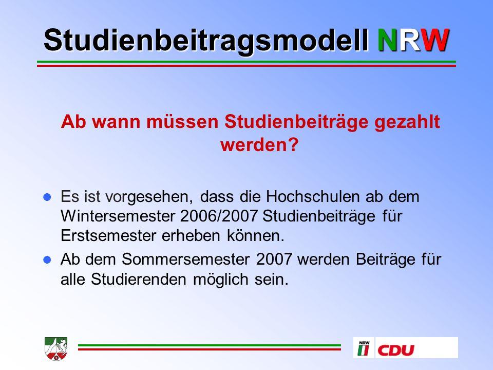 Studienbeitragsmodell NRW Wann und wie muss gezahlt werden.