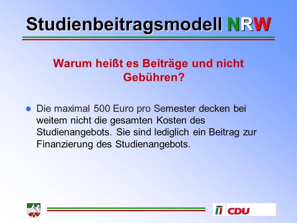 Studienbeitragsmodell NRW IV. Sozialverträgliche Gestaltung