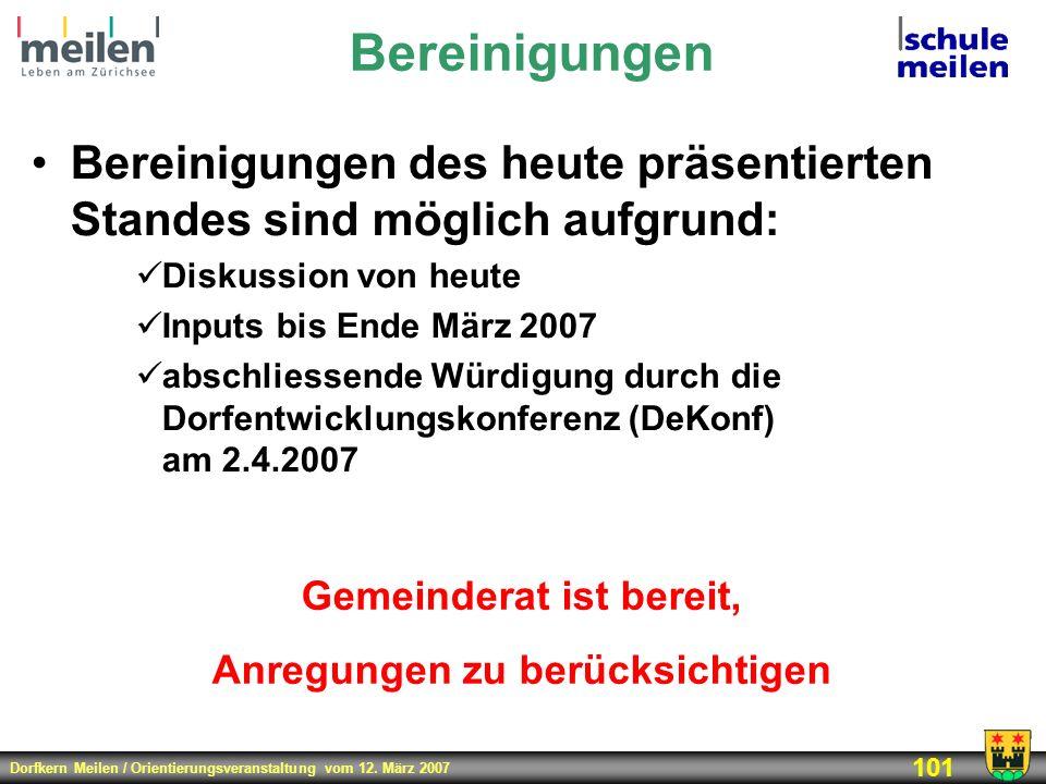 Dorfkern Meilen / Orientierungsveranstaltung vom 12. März 2007 101 Bereinigungen Bereinigungen des heute präsentierten Standes sind möglich aufgrund: