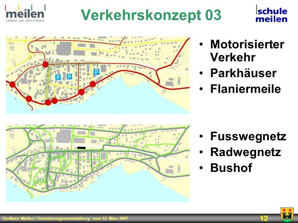 Dorfkern Meilen / Orientierungsveranstaltung vom 12. März 2007 12 Verkehrskonzept 03 Motorisierter Verkehr Parkhäuser Flaniermeile Fusswegnetz Radwegn