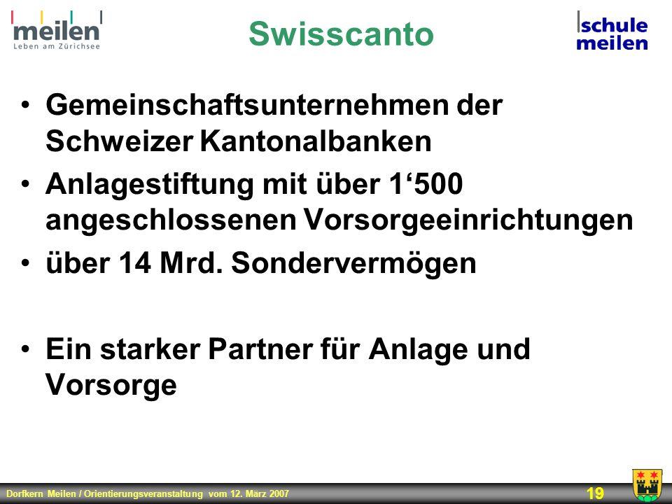 Dorfkern Meilen / Orientierungsveranstaltung vom 12. März 2007 19 Swisscanto Gemeinschaftsunternehmen der Schweizer Kantonalbanken Anlagestiftung mit