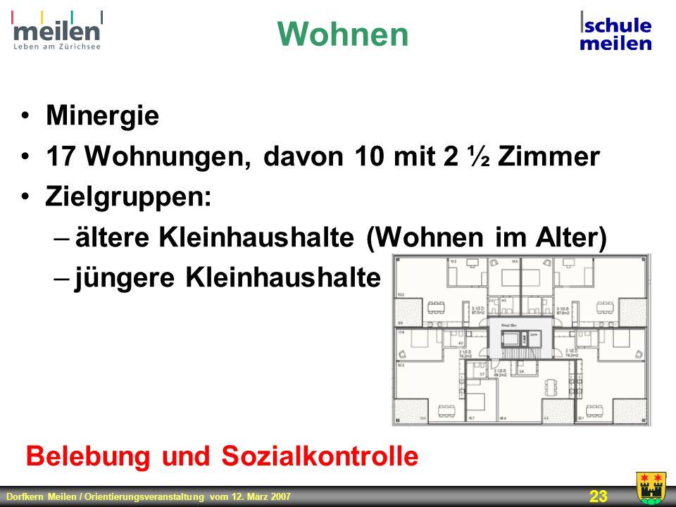 Dorfkern Meilen / Orientierungsveranstaltung vom 12. März 2007 23 Wohnen Minergie 17 Wohnungen, davon 10 mit 2 ½ Zimmer Zielgruppen: –ältere Kleinhaus