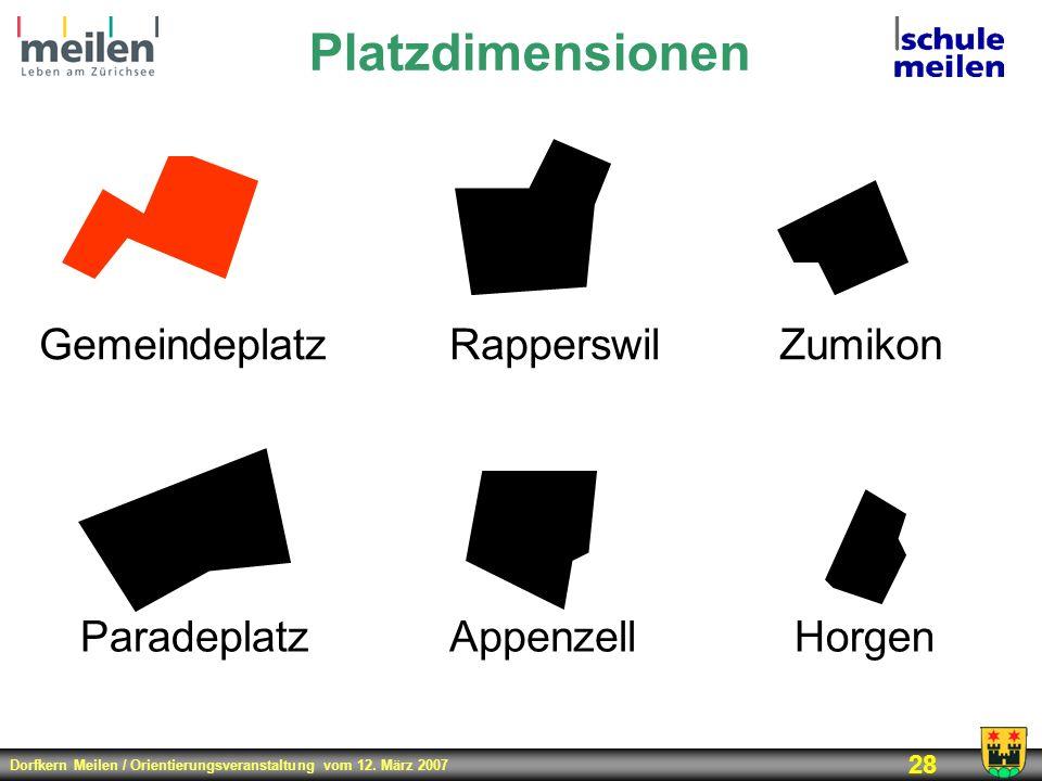 Dorfkern Meilen / Orientierungsveranstaltung vom 12. März 2007 28 Platzdimensionen Appenzell Rapperswil Paradeplatz Zumikon Horgen Gemeindeplatz