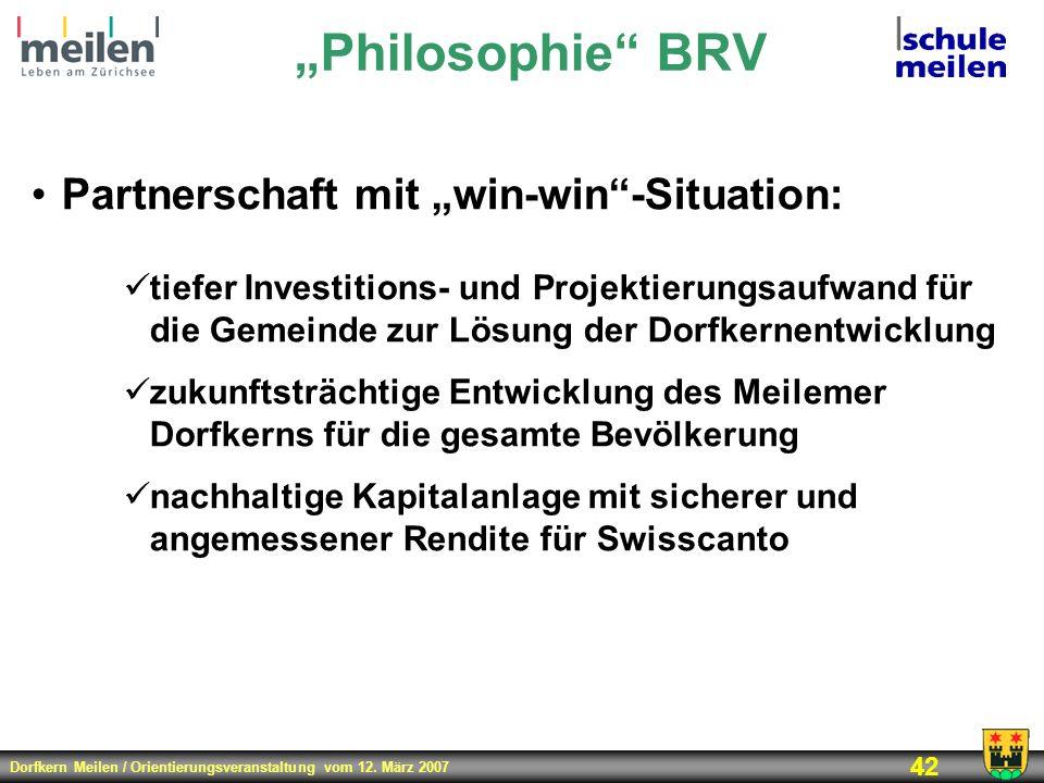 Dorfkern Meilen / Orientierungsveranstaltung vom 12. März 2007 42 Philosophie BRV Partnerschaft mit win-win-Situation: tiefer Investitions- und Projek