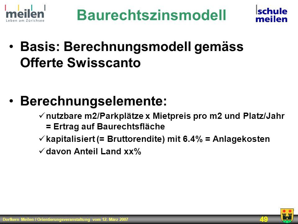 Dorfkern Meilen / Orientierungsveranstaltung vom 12. März 2007 49 Baurechtszinsmodell Basis: Berechnungsmodell gemäss Offerte Swisscanto Berechnungsel
