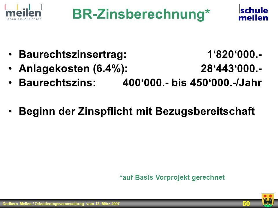 Dorfkern Meilen / Orientierungsveranstaltung vom 12. März 2007 50 BR-Zinsberechnung* Baurechtszinsertrag:1820000.- Anlagekosten (6.4%):28443000.- Baur