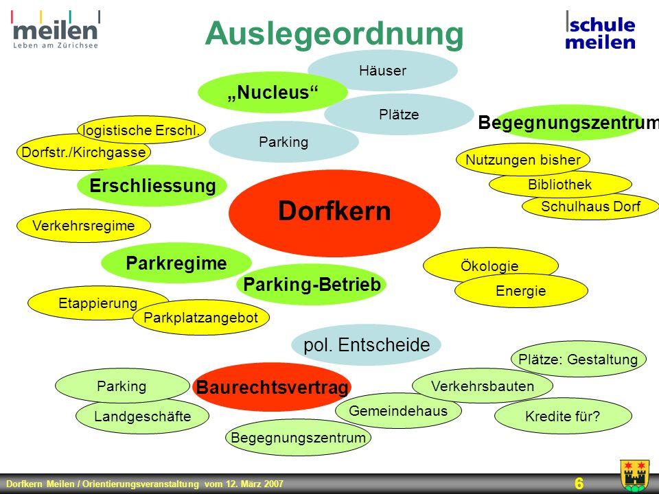 Dorfkern Meilen / Orientierungsveranstaltung vom 12. März 2007 6 Auslegeordnung Dorfkern Etappierung Gemeindehaus Parking-Betrieb Ökologie Schulhaus D