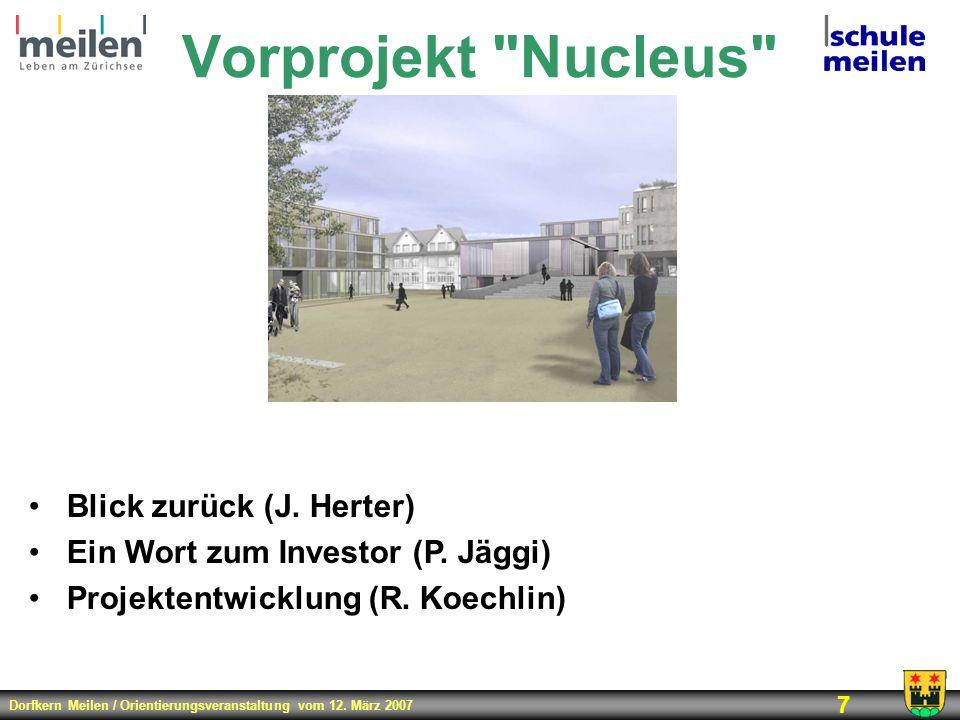Dorfkern Meilen / Orientierungsveranstaltung vom 12. März 2007 7 Vorprojekt