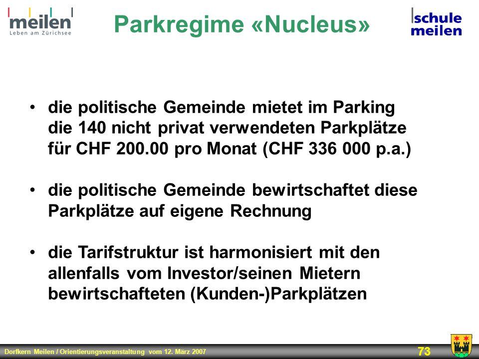 Dorfkern Meilen / Orientierungsveranstaltung vom 12. März 2007 73 Parkregime «Nucleus» die politische Gemeinde mietet im Parking die 140 nicht privat