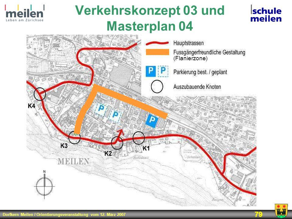 Dorfkern Meilen / Orientierungsveranstaltung vom 12. März 2007 79 Verkehrskonzept 03 und Masterplan 04 (Flanierzone)