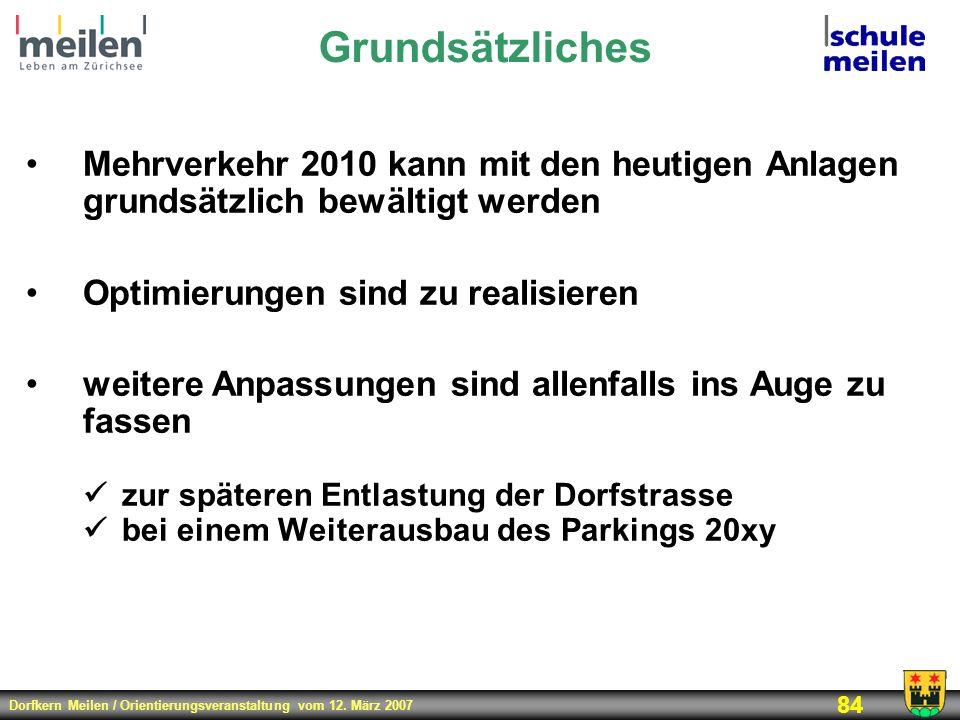 Dorfkern Meilen / Orientierungsveranstaltung vom 12. März 2007 84 Grundsätzliches Mehrverkehr 2010 kann mit den heutigen Anlagen grundsätzlich bewälti