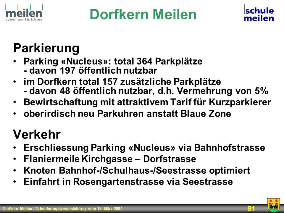 Dorfkern Meilen / Orientierungsveranstaltung vom 12. März 2007 91 Parkierung Parking «Nucleus»: total 364 Parkplätze - davon 197 öffentlich nutzbar im