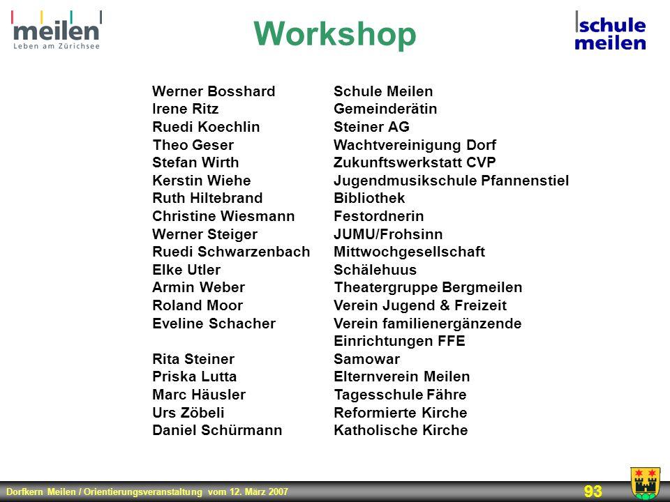 Dorfkern Meilen / Orientierungsveranstaltung vom 12. März 2007 93 Workshop Werner BosshardSchule Meilen Irene RitzGemeinderätin Ruedi KoechlinSteiner
