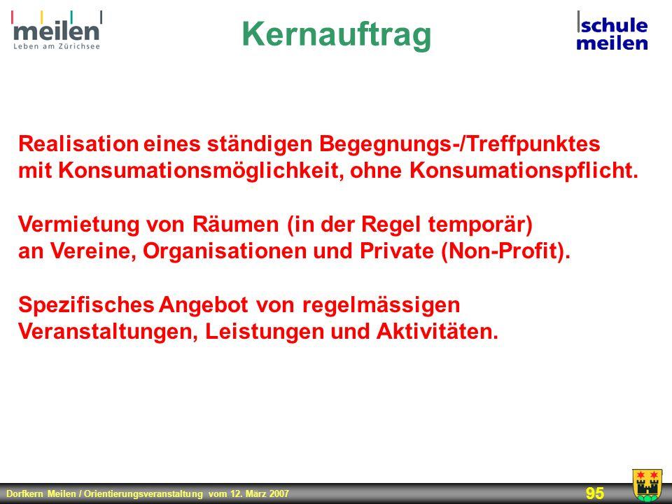 Dorfkern Meilen / Orientierungsveranstaltung vom 12. März 2007 95 Kernauftrag Realisation eines ständigen Begegnungs-/Treffpunktes mit Konsumationsmög