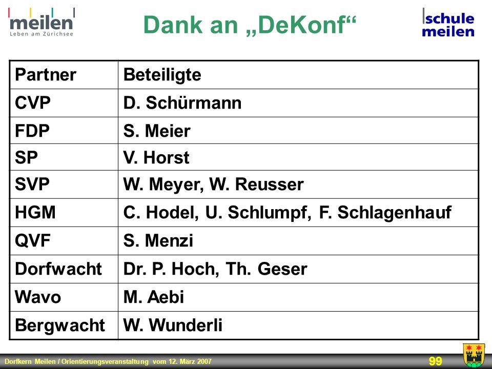 Dorfkern Meilen / Orientierungsveranstaltung vom 12. März 2007 99 Dank an DeKonf PartnerBeteiligte CVPD. Schürmann FDPS. Meier SPV. Horst SVPW. Meyer,