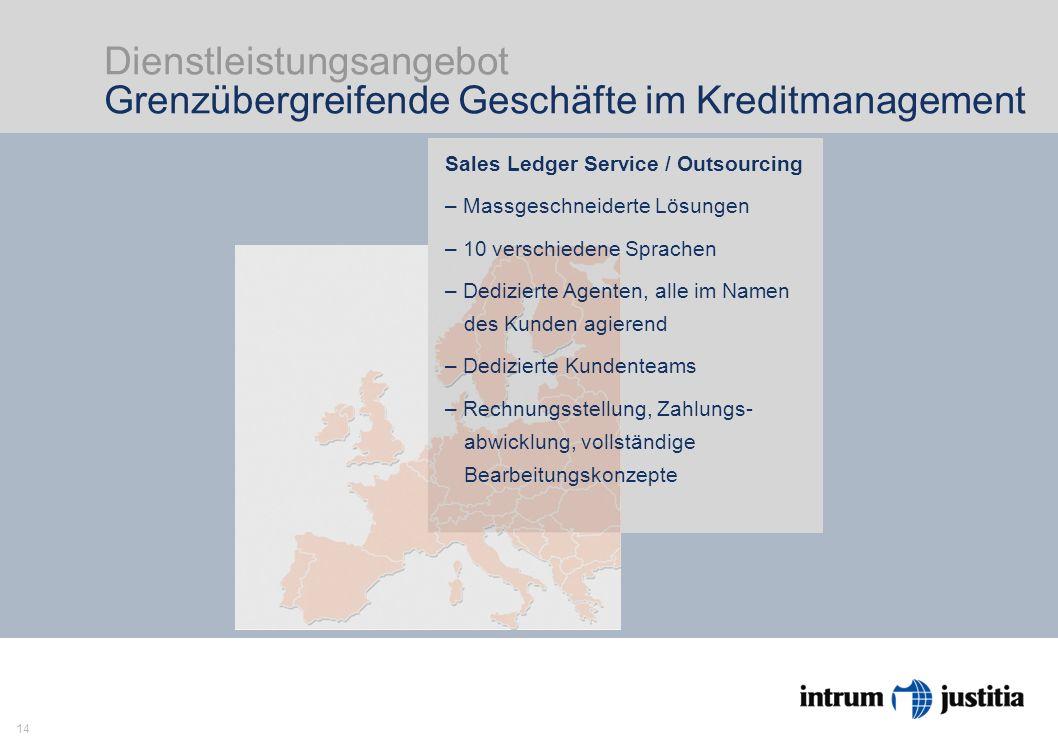 14 Dienstleistungsangebot Grenzübergreifende Geschäfte im Kreditmanagement Intrum Justitia ist Europas Markführer im Kreditmanage- ment mit Head Office in Stockholm und 23 Niederlassungen in Europa.
