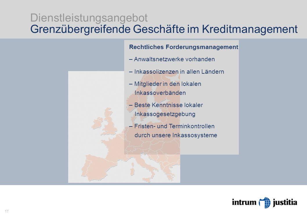17 Dienstleistungsangebot Grenzübergreifende Geschäfte im Kreditmanagement Intrum Justitia ist Europas Markführer im Kreditmanage- ment mit Head Office in Stockholm und 23 Niederlassungen in Europa.
