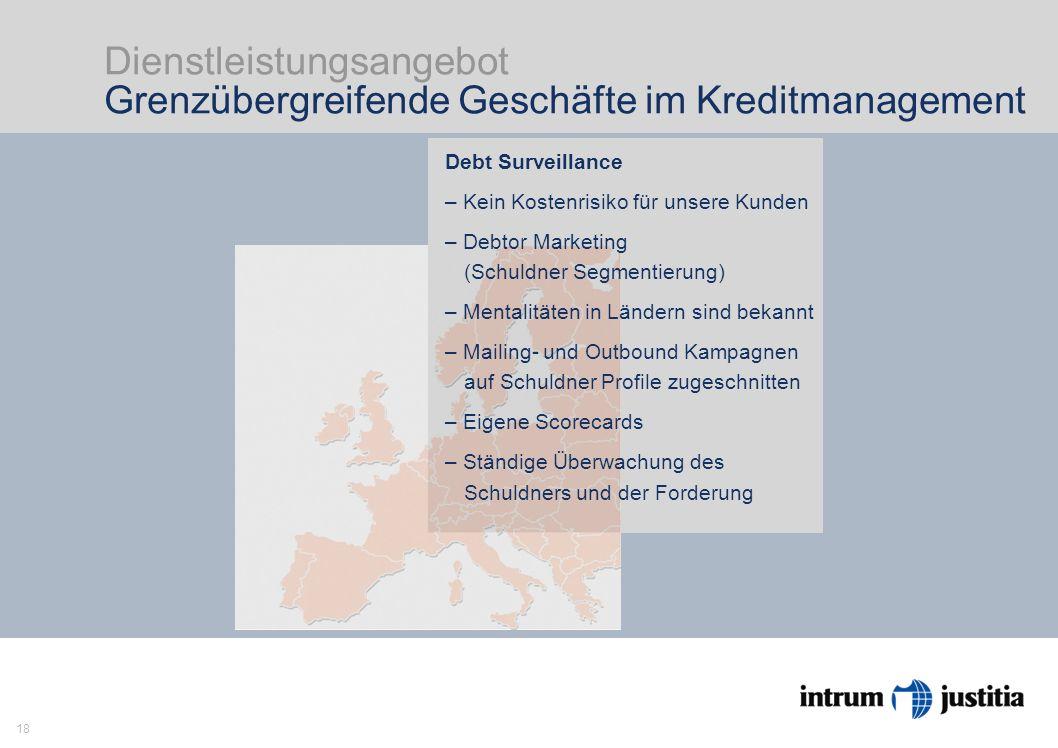 18 Dienstleistungsangebot Grenzübergreifende Geschäfte im Kreditmanagement Intrum Justitia ist Europas Markführer im Kreditmanage- ment mit Head Office in Stockholm und 23 Niederlassungen in Europa.