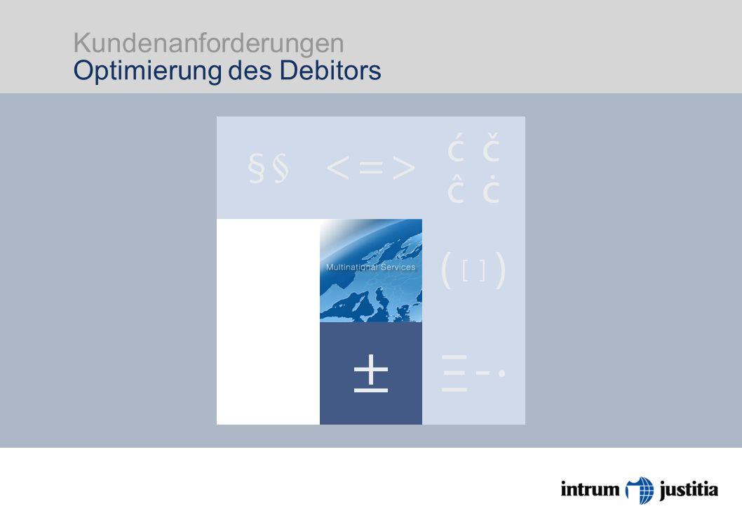 Kundenanforderungen Optimierung des Debitors