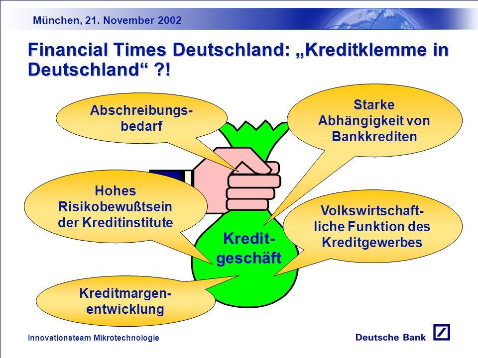 München, 21. November 2002 Innovationsteam Mikrotechnologie NRW 17 % Bayern 22 % Berlin 13 % Weitere Bundesländer Hamburg6 % Hessen6 % Rheinland-Pfalz