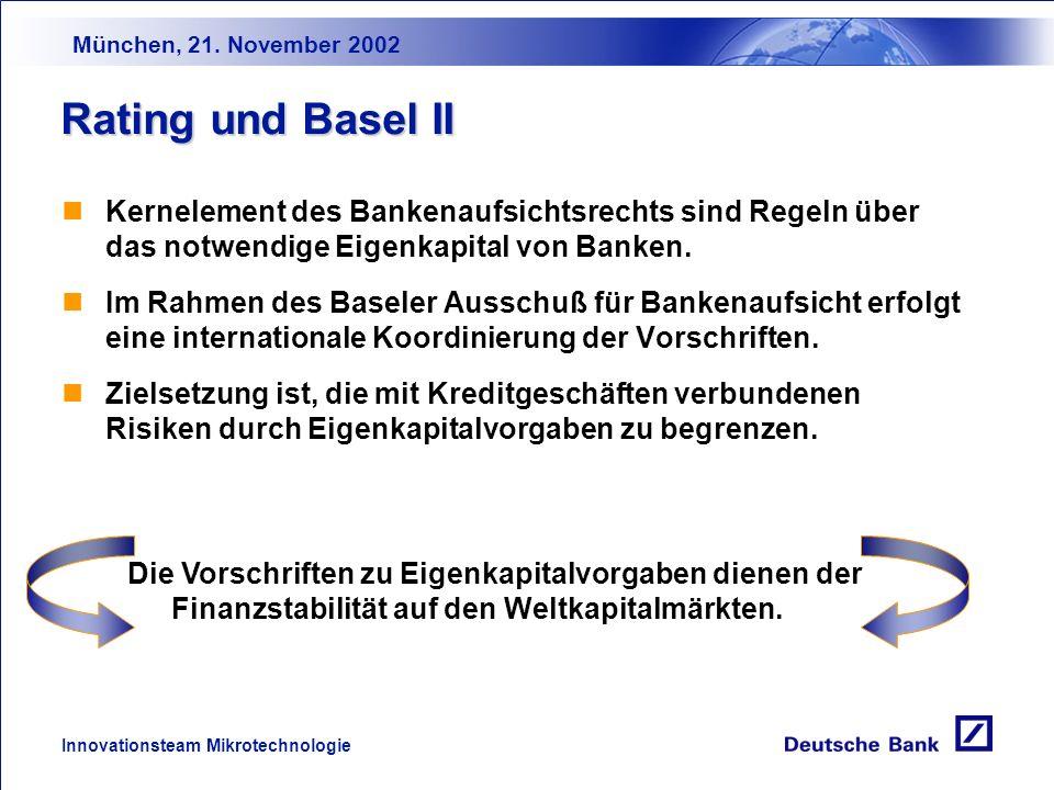 München, 21. November 2002 Innovationsteam Mikrotechnologie Kredit- geschäft Starke Abhängigkeit von Bankkrediten Abschreibungs- bedarf Kreditmargen-