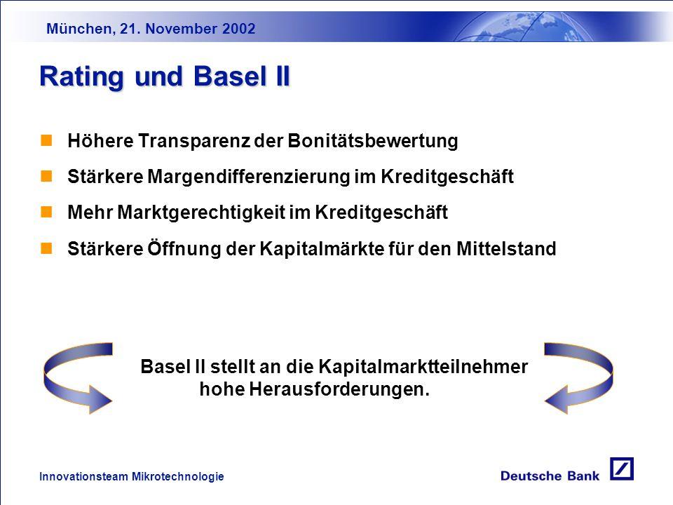 München, 21. November 2002 Innovationsteam Mikrotechnologie Rating und Basel II Kernelement des Bankenaufsichtsrechts sind Regeln über das notwendige