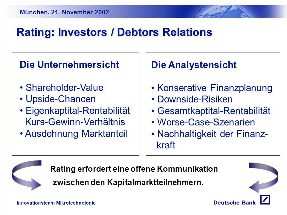 München, 21. November 2002 Innovationsteam Mikrotechnologie Rating und Basel II Höhere Transparenz der Bonitätsbewertung Stärkere Margendifferenzierun