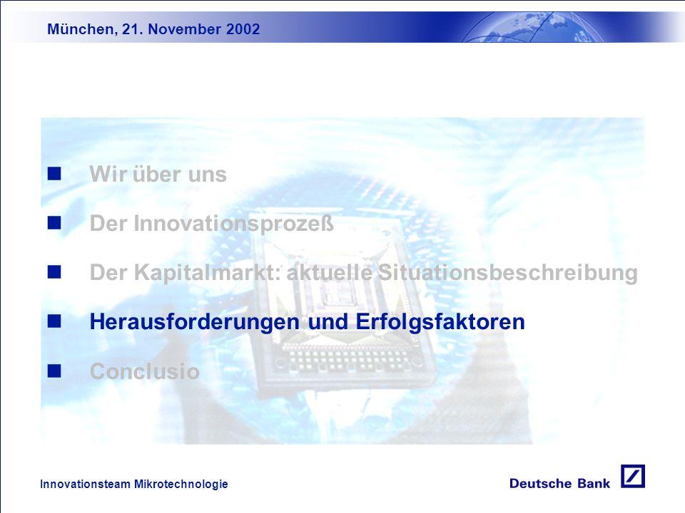 München, 21. November 2002 Innovationsteam Mikrotechnologie Rating: Investors / Debtors Relations Die Unternehmersicht Shareholder-Value Upside-Chance