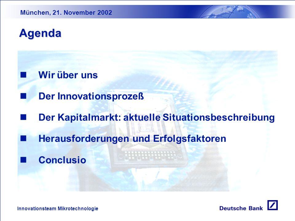 Wie kommt das Geld zur Innovation? Erfolg aus Sicht der Kapitalgeber Deutsches Innovationsforum München, 21. November 2002