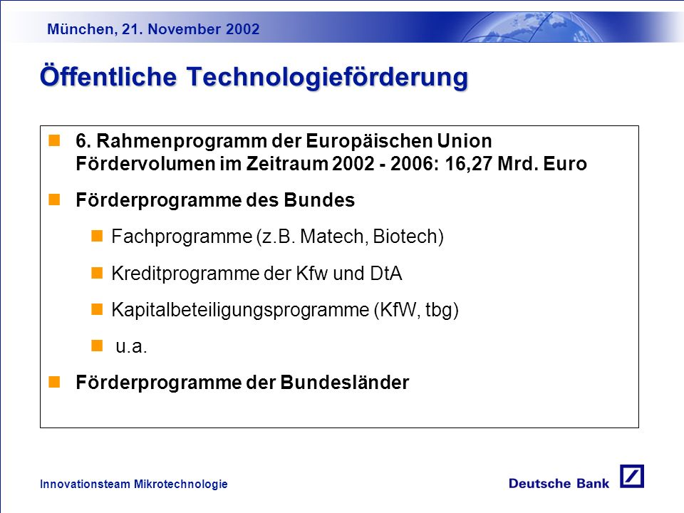München, 21. November 2002 Innovationsteam Mikrotechnologie SeedStart-upExpansionMaturity Business Angels Öffentliche Förderung Fremdkapital Eigenkapi