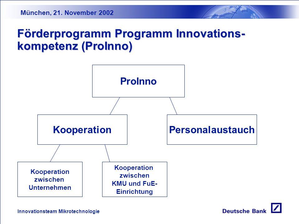 München, 21. November 2002 Innovationsteam Mikrotechnologie Öffentliche Technologieförderung 6.