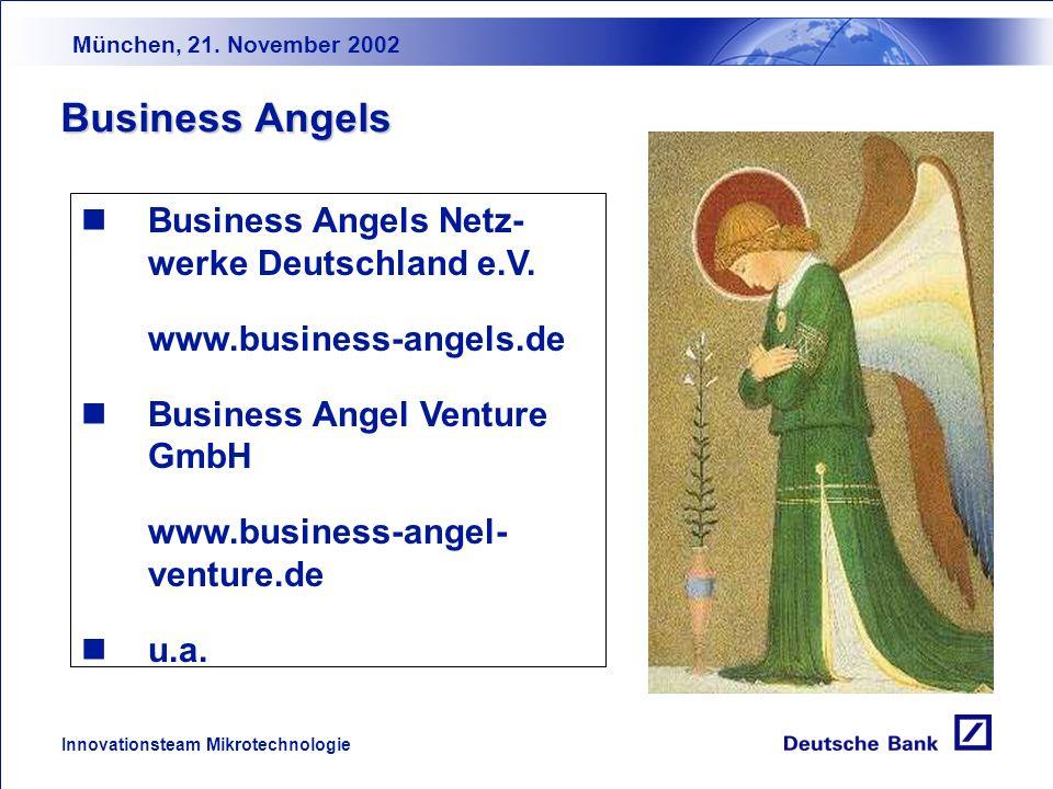 München, 21. November 2002 Innovationsteam Mikrotechnologie Förderprogramm Programm Innovations- kompetenz (ProInno) ProInno KooperationPersonalaustau