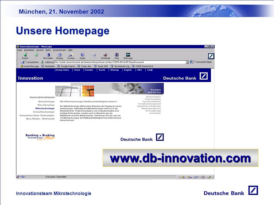München, 21. November 2002 Innovationsteam Mikrotechnologie Business Angels Business Angels Netz- werke Deutschland e.V. www.business-angels.de Busine