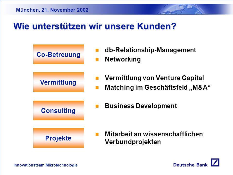München, 21. November 2002 Innovationsteam Mikrotechnologie Unsere Technologieschwerpunkte (Mikro-)Elektronik Integrierte Schalt- kreise (ICs) Passive