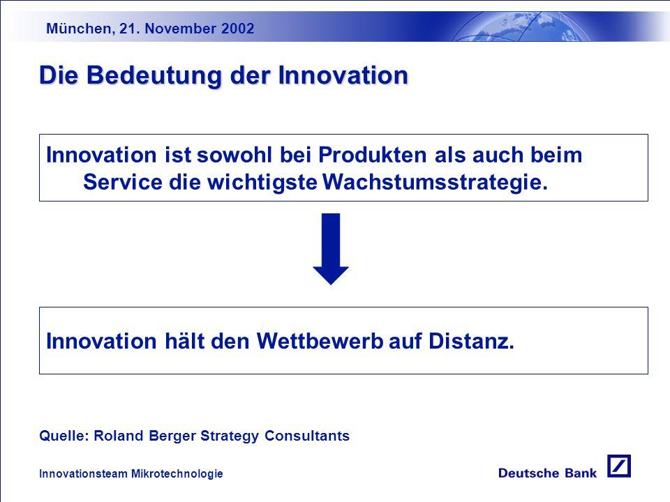 München, 21. November 2002 Innovationsteam Mikrotechnologie Wir über uns Der Innovationsprozeß Der Kapitalmarkt: aktuelle Situationsbeschreibung Herau
