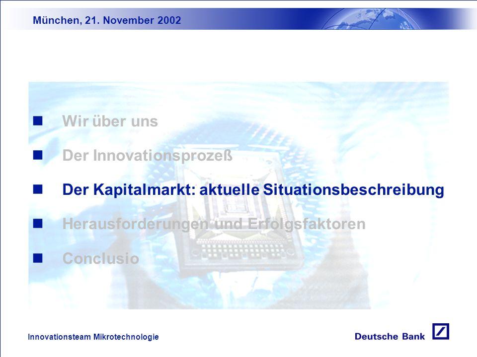 München, 21. November 2002 Innovationsteam Mikrotechnologie Der 3S-Prozeß SpeedShare Economies of Scale kurze Innovations- phase hohe Markt- anteile d