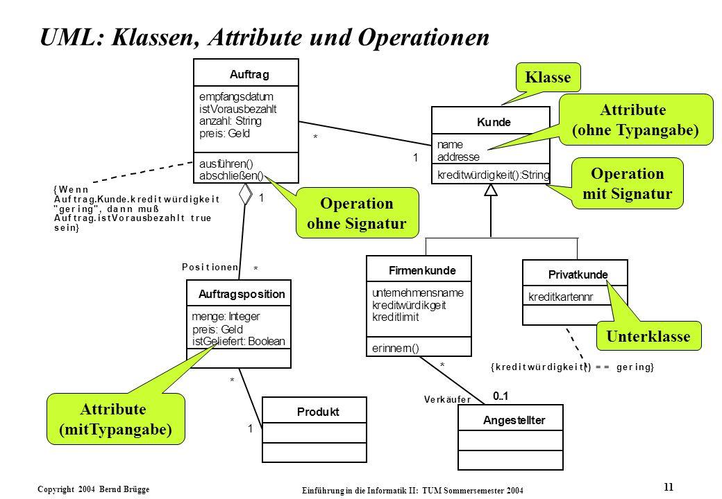 Copyright 2004 Bernd Brügge Einführung in die Informatik II: TUM Sommersemester 2004 11 UML: Klassen, Attribute und Operationen eit kreditlimit erinne