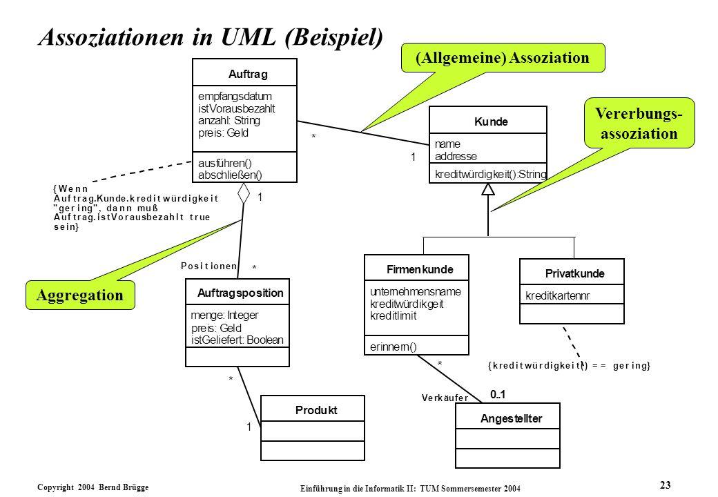 Copyright 2004 Bernd Brügge Einführung in die Informatik II: TUM Sommersemester 2004 23 Assoziationen in UML (Beispiel) eit kreditlimit erinnern() Fir