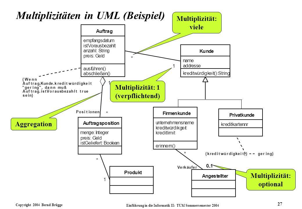 Copyright 2004 Bernd Brügge Einführung in die Informatik II: TUM Sommersemester 2004 27 Multiplizitäten in UML (Beispiel) Multiplizität: 1 (verpflicht