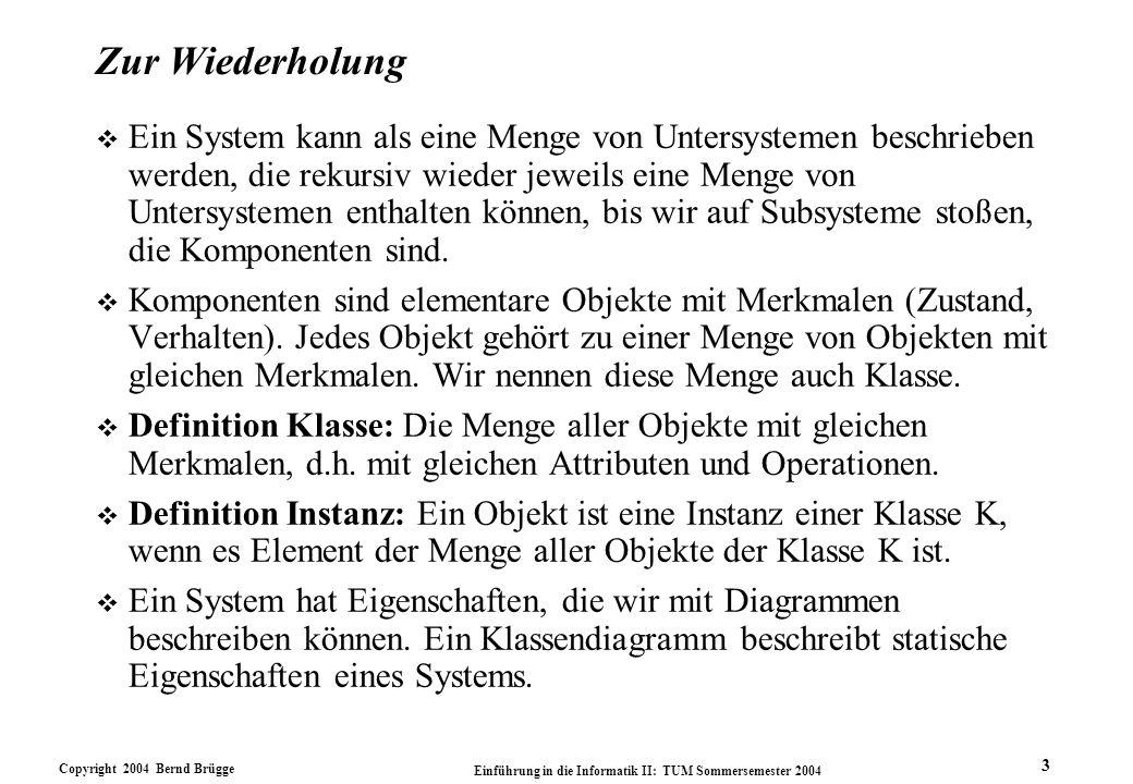 Copyright 2004 Bernd Brügge Einführung in die Informatik II: TUM Sommersemester 2004 3 Zur Wiederholung v Ein System kann als eine Menge von Untersyst