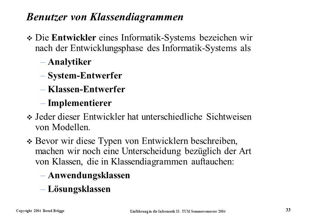 Copyright 2004 Bernd Brügge Einführung in die Informatik II: TUM Sommersemester 2004 33 Benutzer von Klassendiagrammen v Die Entwickler eines Informat